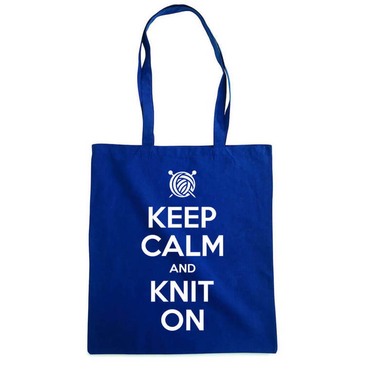 Keep Calm and Knit On bærenett marine