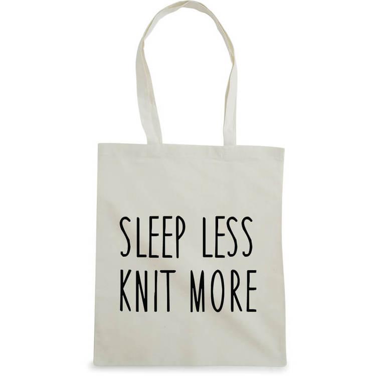 Sleep less knit more bærenett natur