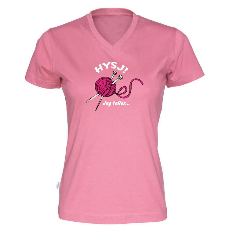 Hysj jeg teller v-hals t-skjorte dame rosa