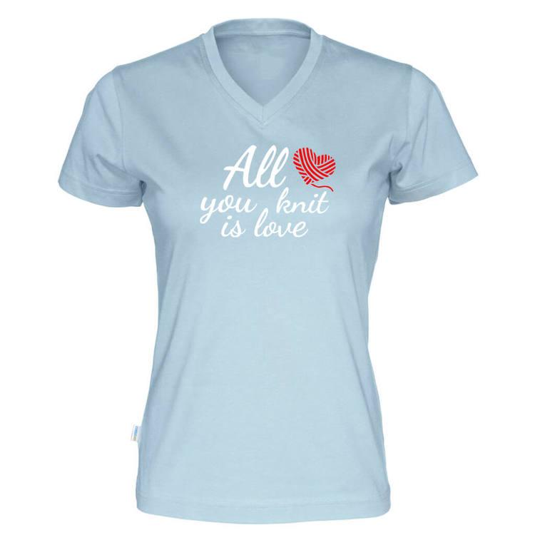 All you knit is love v-hals t-skjorte dame himmelblå