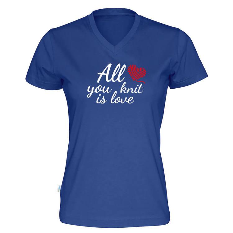 All you knit is love v-hals t-skjorte dame kongeblå