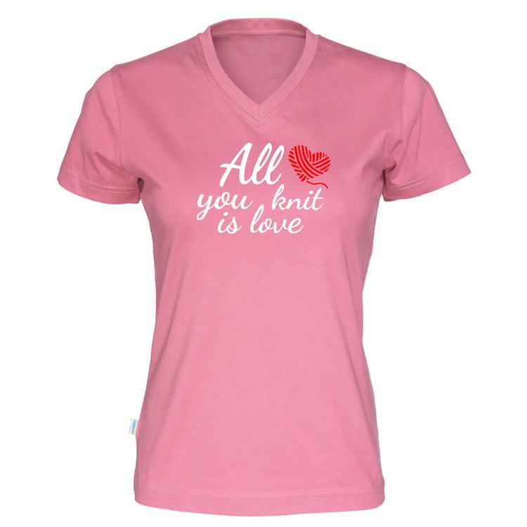 All you knit is love v-hals t-skjorte dame rosa