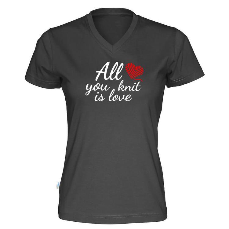 All you knit is love v-hals t-skjorte dame sort