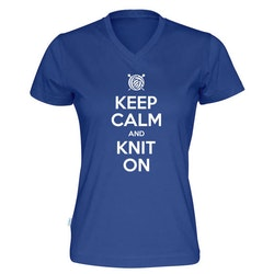 Keep Calm and Knit On v-hals t-skjorte dame