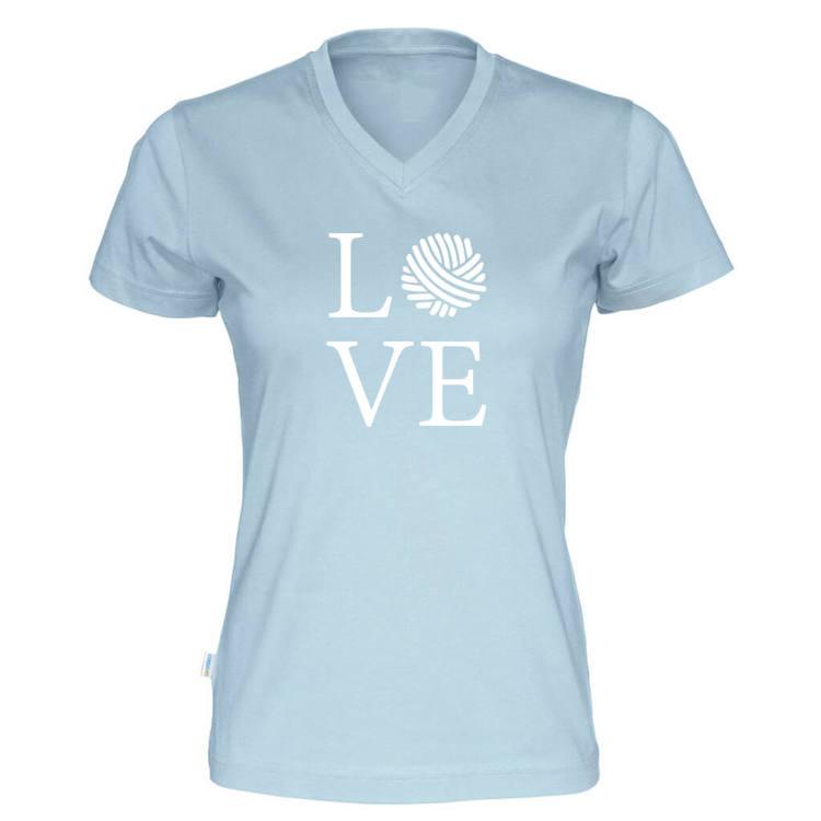 LOVE v-hals t-skjorte dame himmelblå