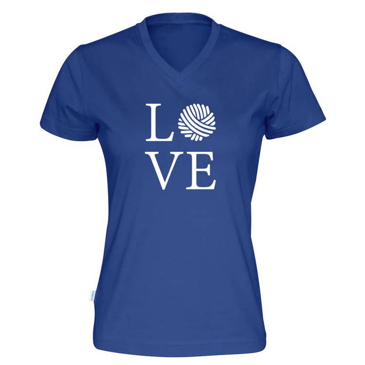 LOVE v-hals t-skjorte dame kongeblå