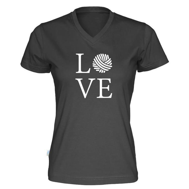 LOVE v-hals t-skjorte dame sort
