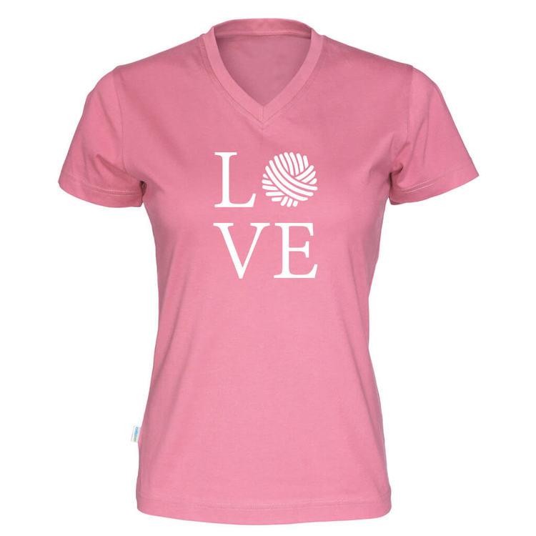 LOVE v-hals t-skjorte dame rosa