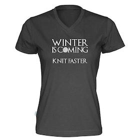Winter is coming knit faster v-hals t-skjorte dame