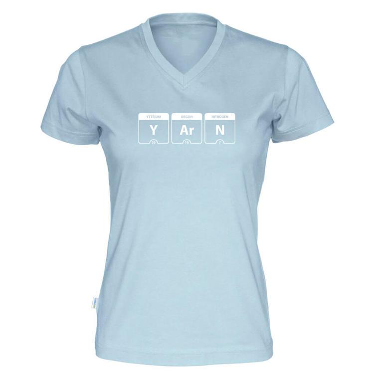 YARN periodisk system v-hals t-skjorte dame himmelblå