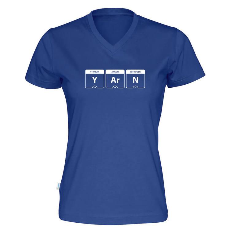 YARN periodisk system v-hals t-skjorte dame kongeblå