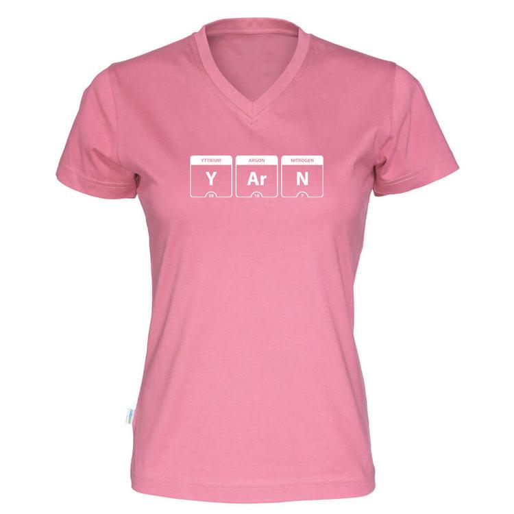 YARN periodisk system v-hals t-skjorte dame rosa