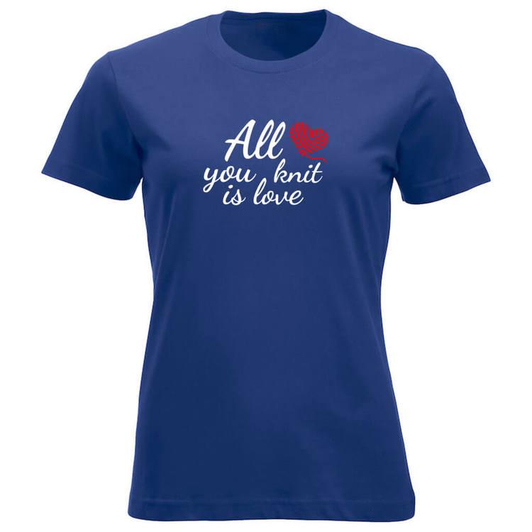 All you knit is love klassisk t-skjorte dame koboltblå