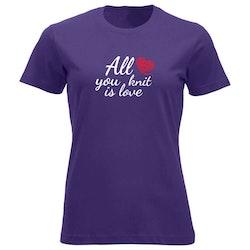 All you knit is love klassisk t-skjorte dame