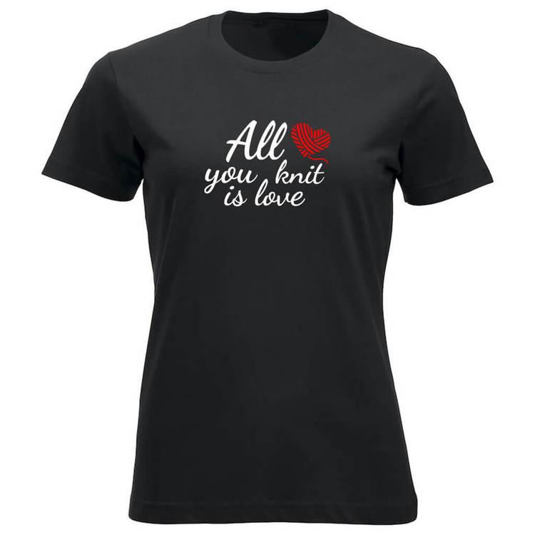 All you knit is love klassisk t-skjorte dame sort