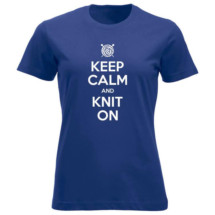 Keep Calm and Knit On klassisk t-skjorte dame koboltblå