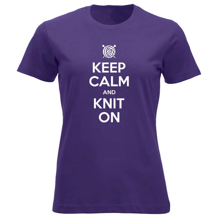 Keep Calm and Knit On klassisk t-skjorte dame lilla
