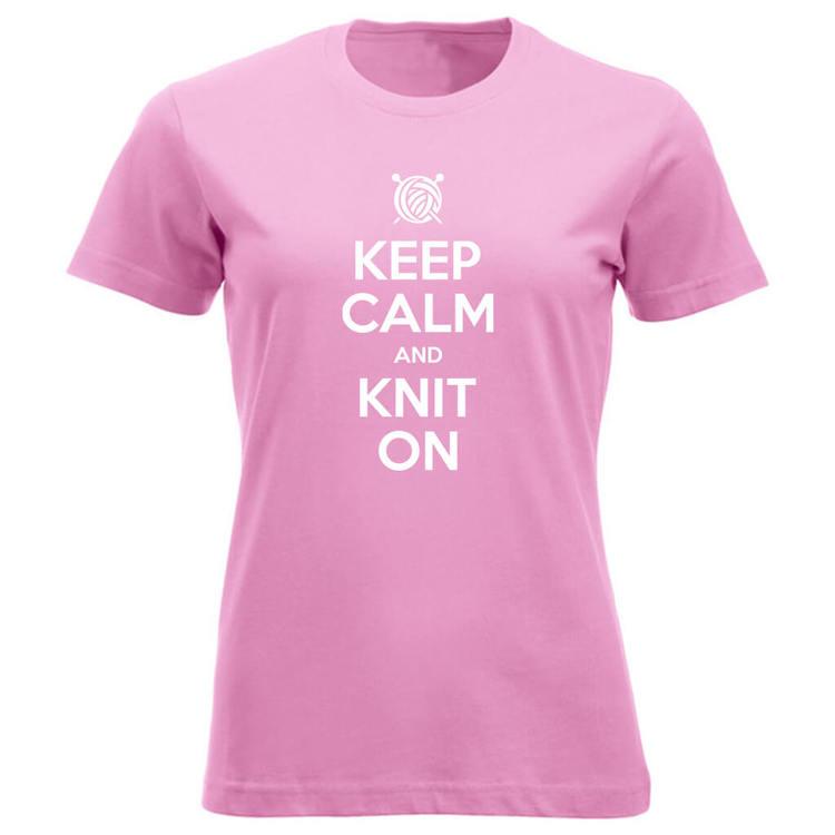 Keep Calm and Knit On klassisk t-skjorte dame rosa