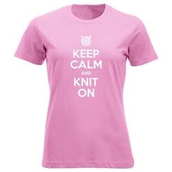 Keep Calm and Knit On klassisk t-skjorte dame
