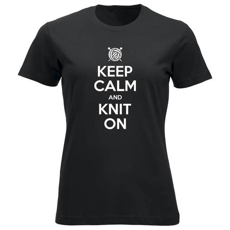 Keep Calm and Knit On klassisk t-skjorte dame sort