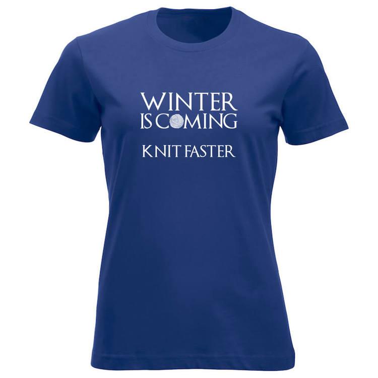 Winter is coming knit faster klassisk t-skjorte dame koboltblå