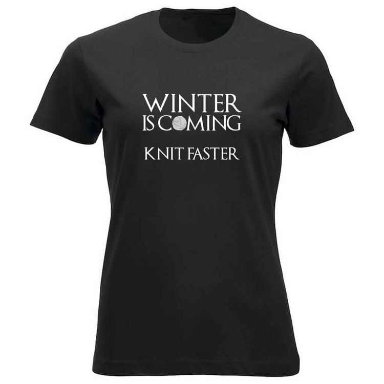 Winter is coming knit faster klassisk t-skjorte dame sort
