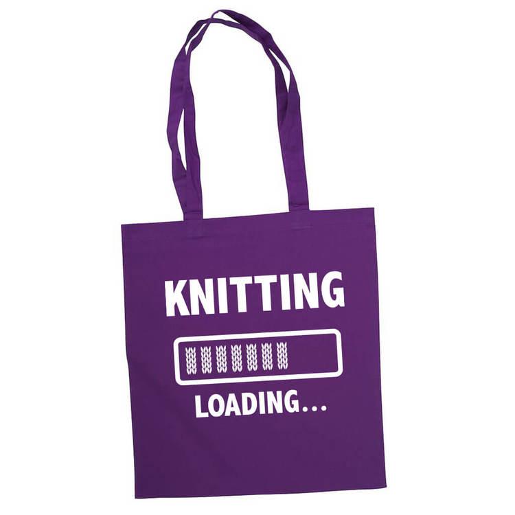 Knitting loading bærenett lilla