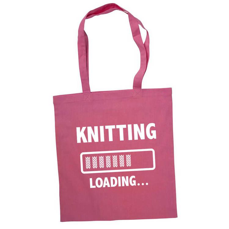 Knitting loading bærenett rosa