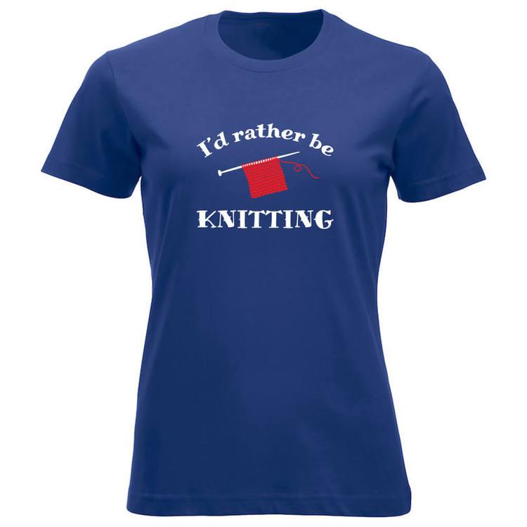 I'd rather be knitting klassisk t-skjorte dame koboltblå