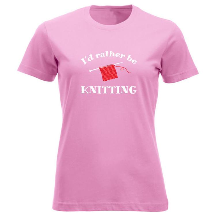 I'd rather be knitting klassisk t-skjorte dame rosa