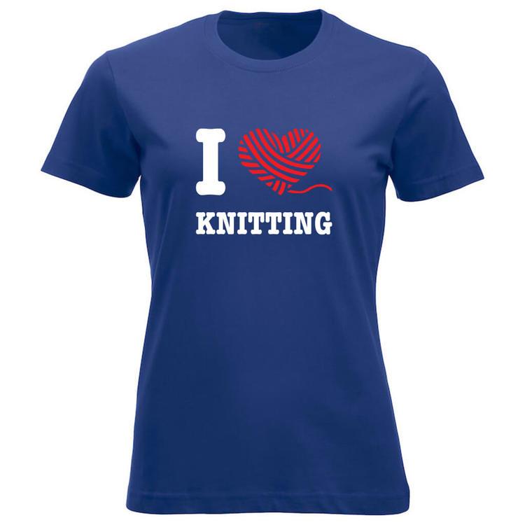 I love knitting klassisk t-skjorte dame