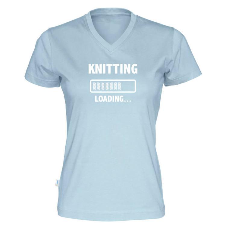 Knitting loading v-hals t-skjorte dame himmelblå