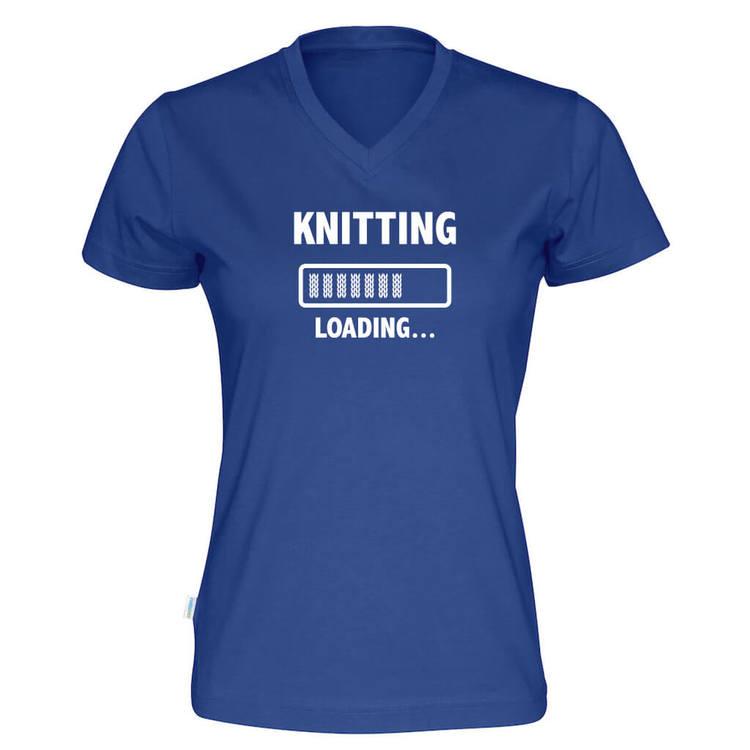Knitting loading v-hals t-skjorte dame kongeblå