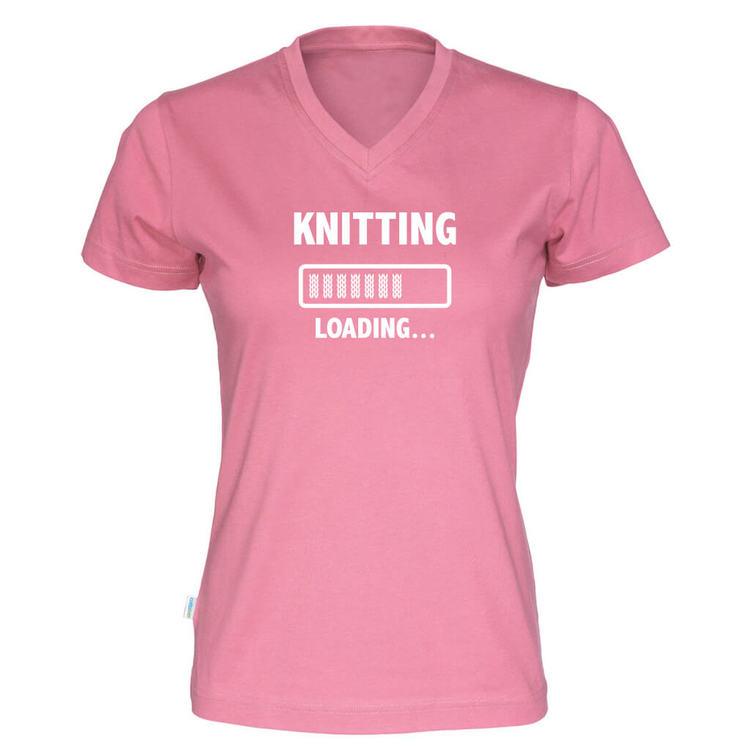 Knitting loading v-hals t-skjorte dame rosa