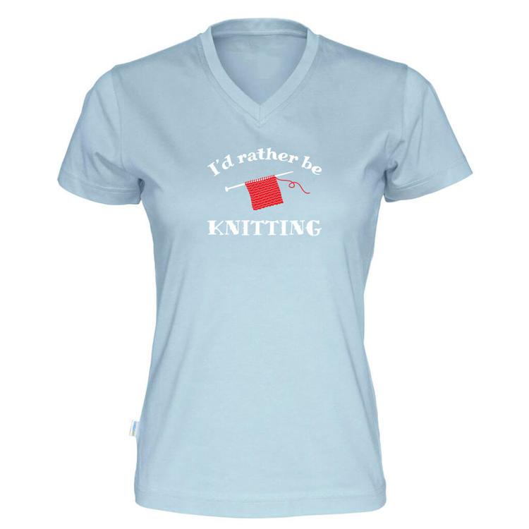 I'd rather be knitting v-hals t-skjorte dame himmelblå