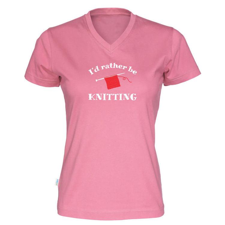 I'd rather be knitting v-hals t-skjorte dame rosa