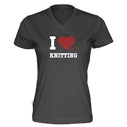 I love knitting v-hals t-skjorte dame