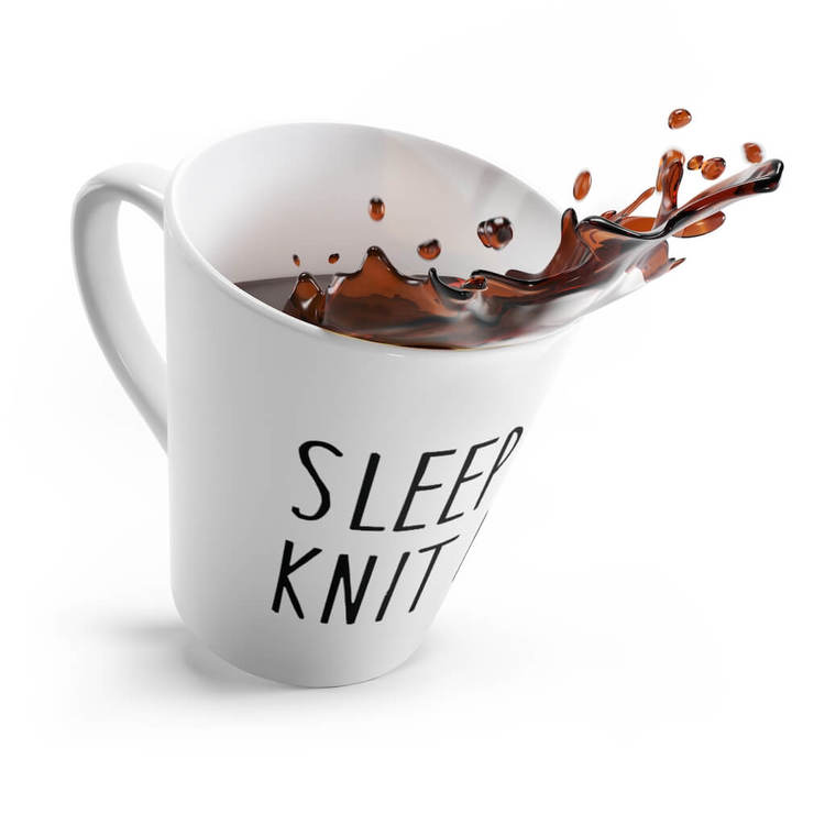 Sleep less knit more lattekrus kaffe