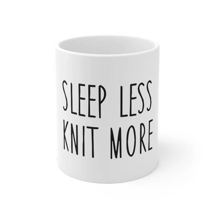 Sleep less knit more krus front