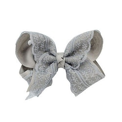Hårklämma - Fancy Lace Bow Gray