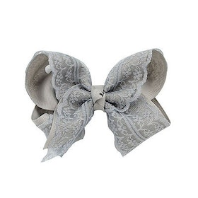Hårklämma - Fancy Lace Bow Gray