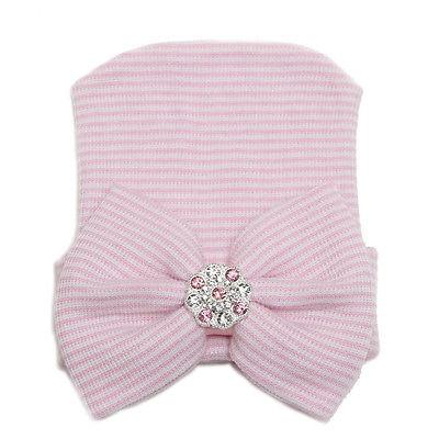 Nyfödd mössa - Newborn Bow Bling Pink