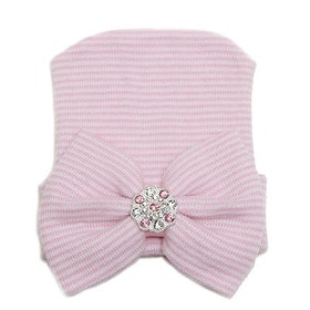 BB-mössa - Newborn Bow Bling Pink