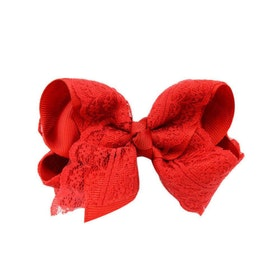Hårklämma - Fancy Lace Bow Red Rose