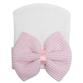 BB-mössa - Newborn Bow White/Pink