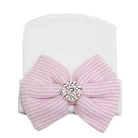 Nyfödd mössa - Newborn Bow Bling White/Pink