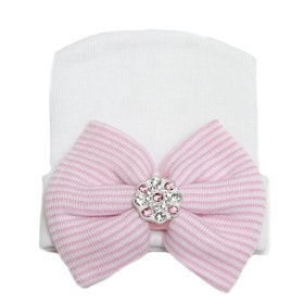 BB-mössa - Newborn Bow Bling White/Pink