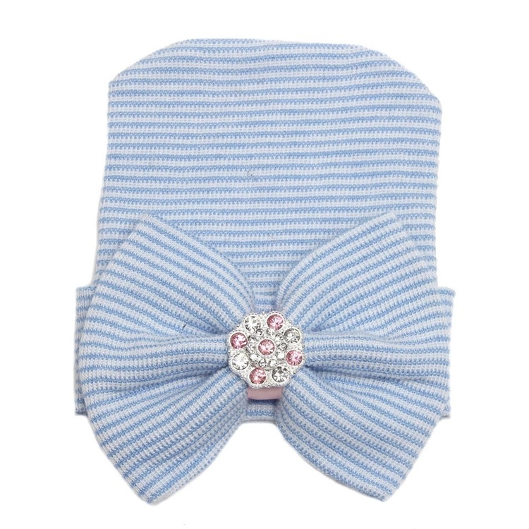Nyfödd mössa - Newborn Bow Bling Blue