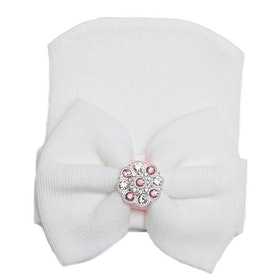Nyfödd mössa - Newborn Bow Bling White