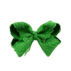 Hårklämma - Fancy Lace Bow Green